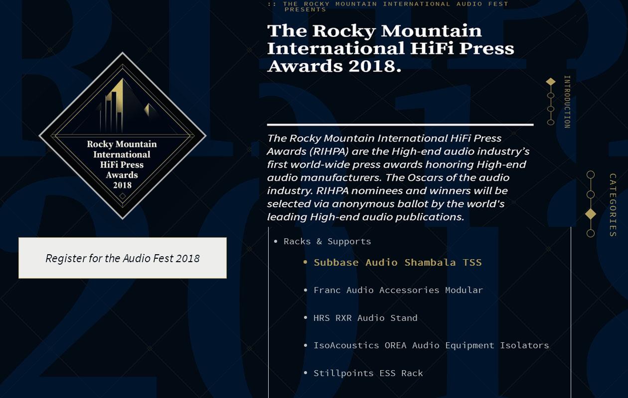 The Rocky Mountain HiFi Press Avard 2018   Franc Audio